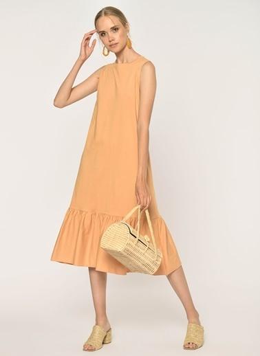 Loves You Eteği Fırfırlı Likralı Kolsuz Örme Elbise Camel